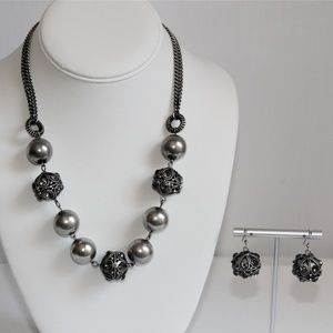Jewelry - Bali Silver Pewter Rhinestone Necklace & Earrings